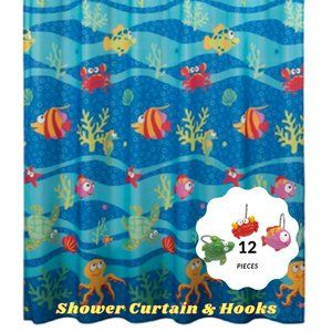 Fish Tails Polyester Fabric Shower Curtain & Hooks
